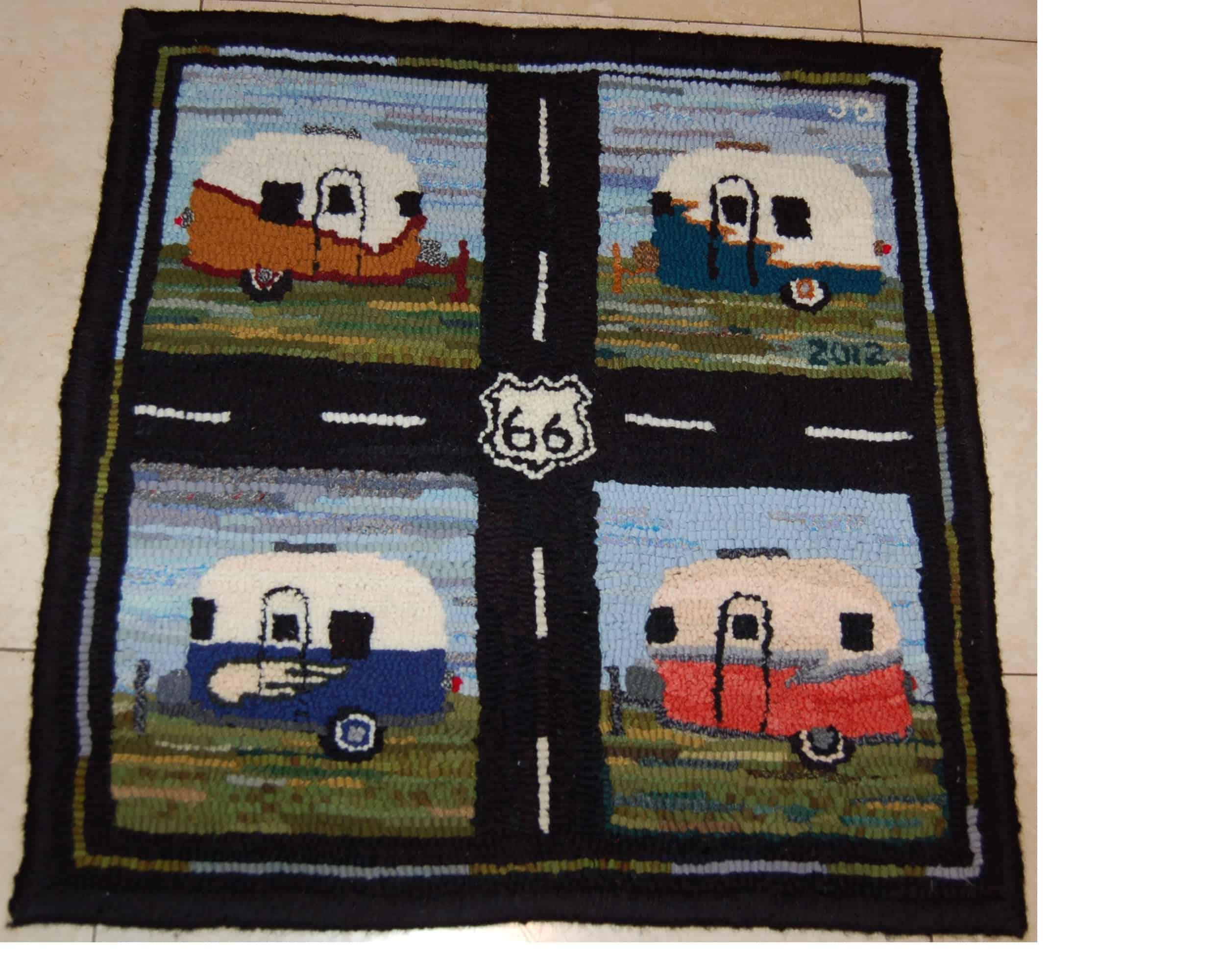 Camper hooked rug